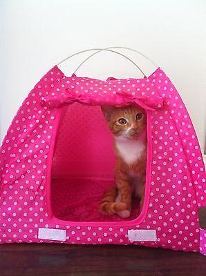 USA SELLER Pet Kitten Cat Puppy Dog Pink Nylon C& Tent Bed Play House Princess & USA SELLER Pet Kitten Cat Puppy Dog Pink Nylon Camp Tent Bed Play ...