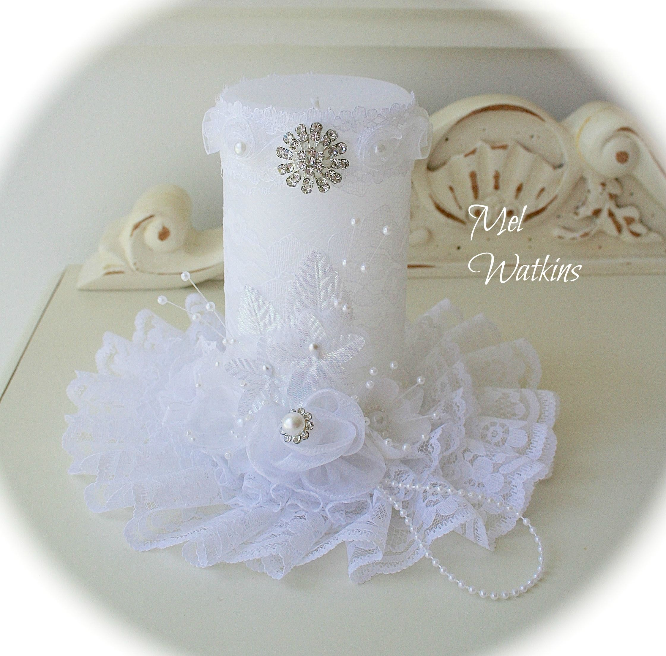 White lacy rhinestone shabby chic candle i made and sold