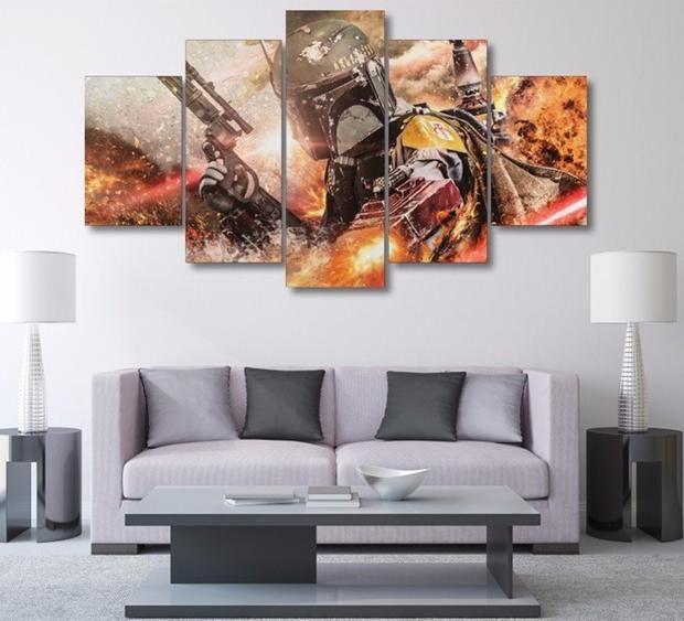 Star Wars Boba Fett 5 Panel Star Wars Canvas Art Panelwallart Com Wall Decor Painting Canvas Living Room Canvas Prints Star Wars Canvas Art