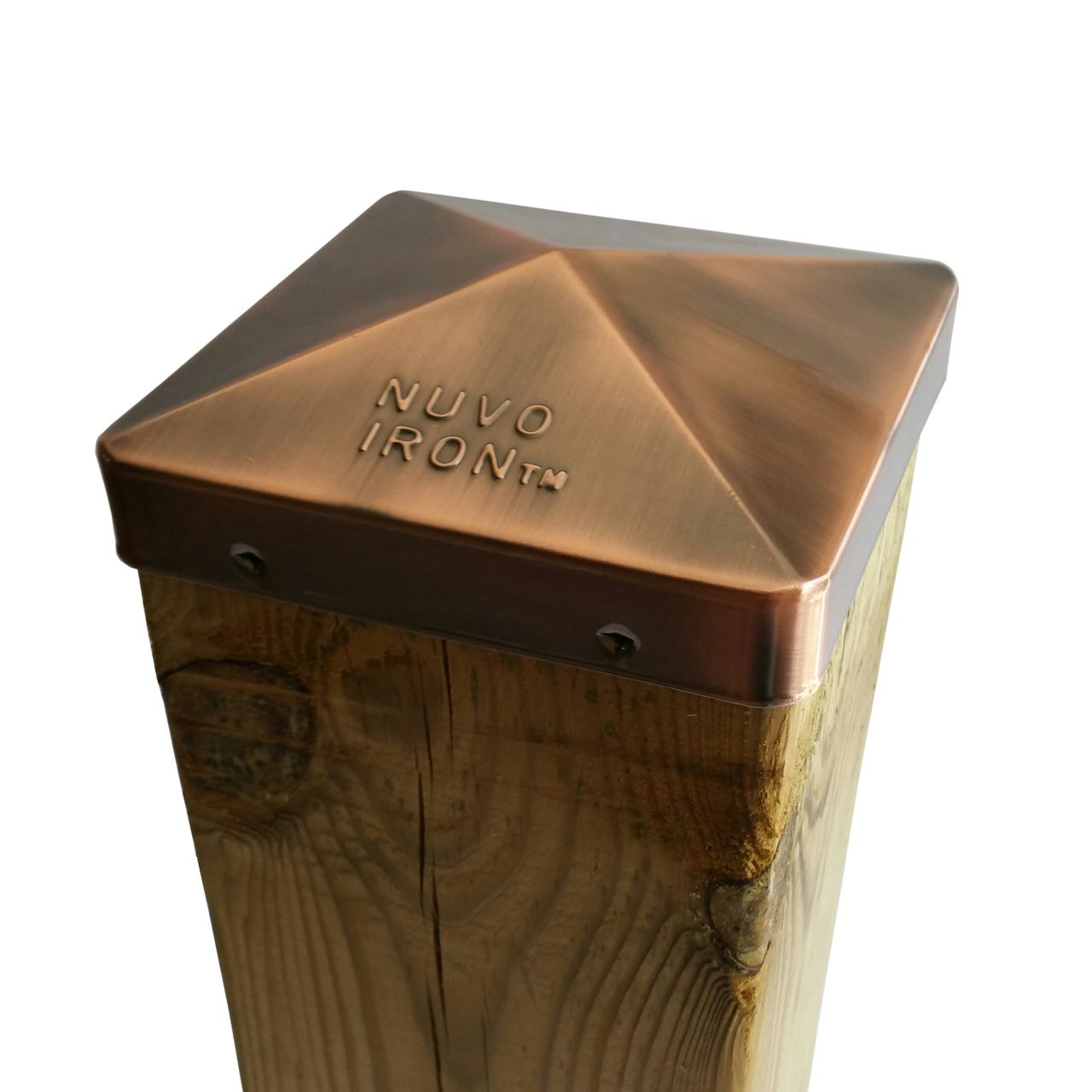 Nuvo Iron 5 5 X 5 5 Post Cap Nominal 6x6 For Posts With Rounded Corners Copper Plated Pyramid Style Copper Plated Plating