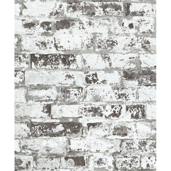 Tapet Area Tegel rustik 10m x 0,53 m Vit Non-woven - Tapeter - Rusta