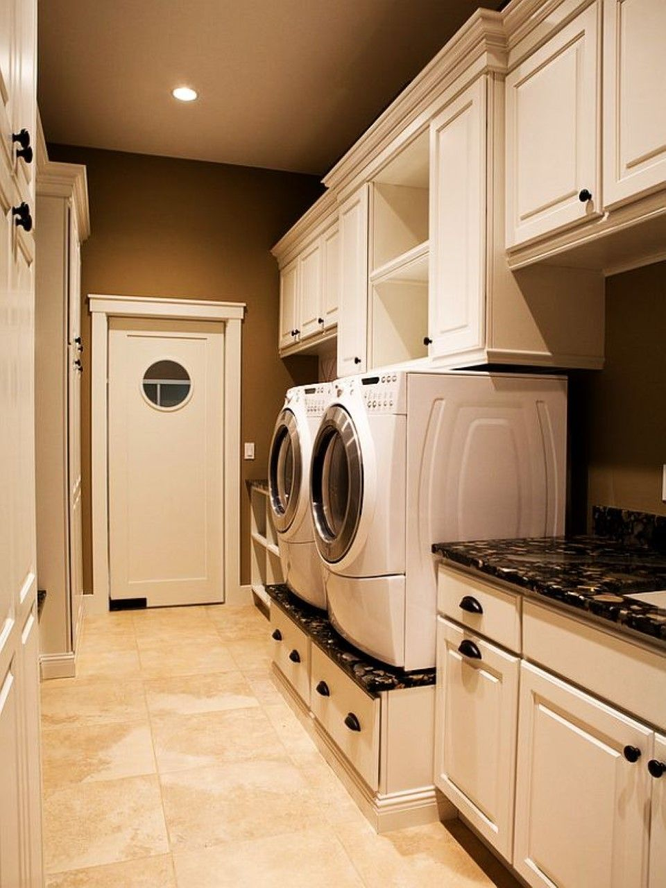 Laundry Room Mesmerizing Brown Laundry Room With White Wooden Wall Storages On Cream Ceramic Flo Laundry Room Remodel Dream Laundry Room Laundry Room Cabinets