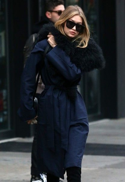 8de64dfecf0 Gigi Hadid Square Sunglasses - Gigi Hadid headed out in New York City  wearing a pair of oversized square shades by Karen Walker.