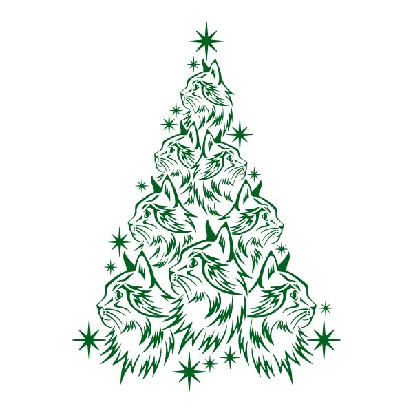 Cat Christmas Tree Cuttable Design Cat Christmas Tree Christmas Tree Clipart Christmas Tree Stencil