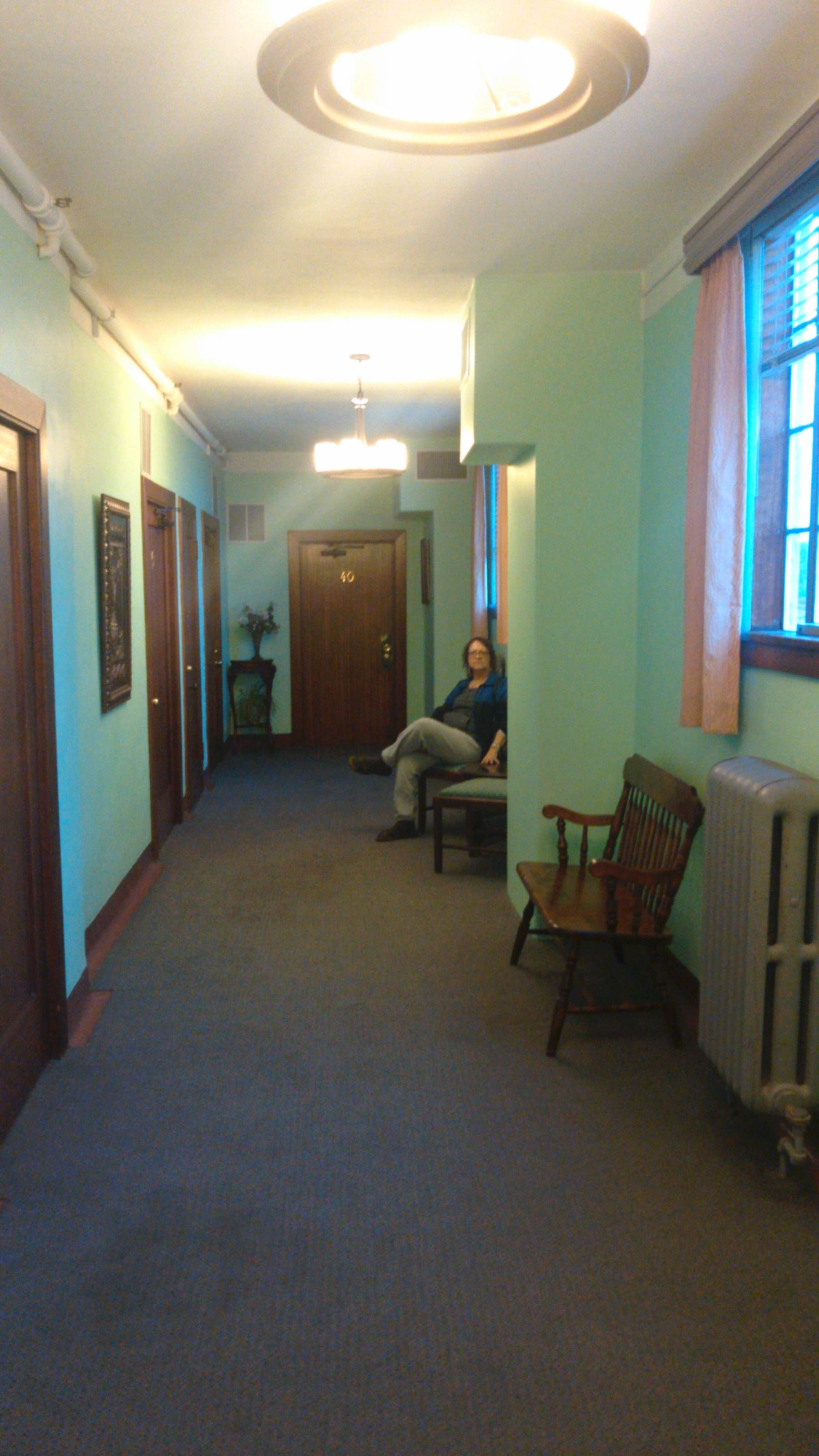 Wife Sitting In Halway At Jerome Grand Hotel At The End Room 40