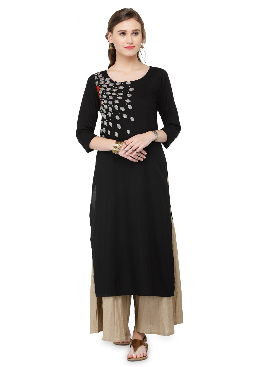 2b4d930840 Shop Black Viscose Readymade Kurti 156292 online at best price from vast  collection of designer kurti at Indianclothstore.com.