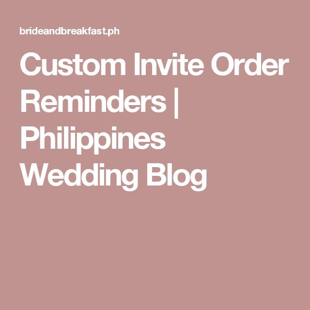 Custom Invite Order Reminders