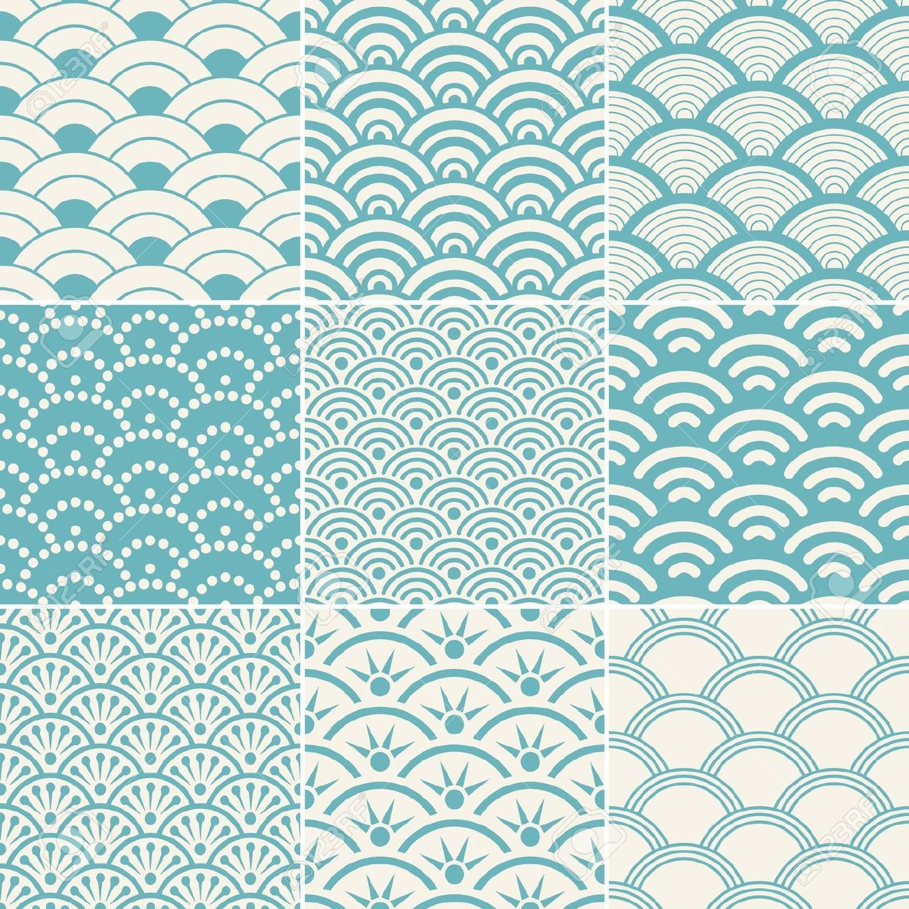 Seamless ocean wave pattern royalty free cliparts vectors - Blue ocean design ...