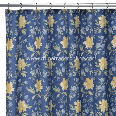 Laura Ashley Emilie Fabric Shower Curtain 100 Cotton Yellow