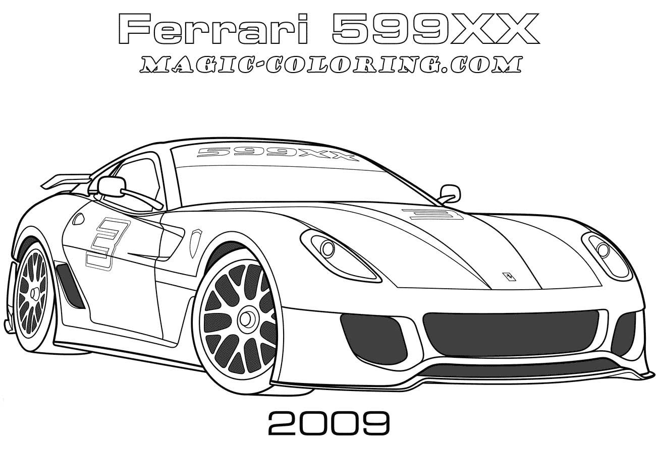 2009 Ferrari 599xx Coloring Page Coloring Pages Cars Coloring Pages Sports Coloring Pages