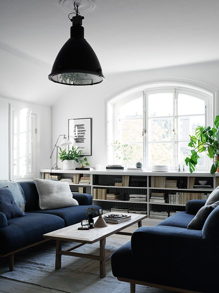 Glas Partition Between Kitchen And Bedroom Coco Lapine Design Blue Sofas Living Room Living Room White Blue And White Living Room