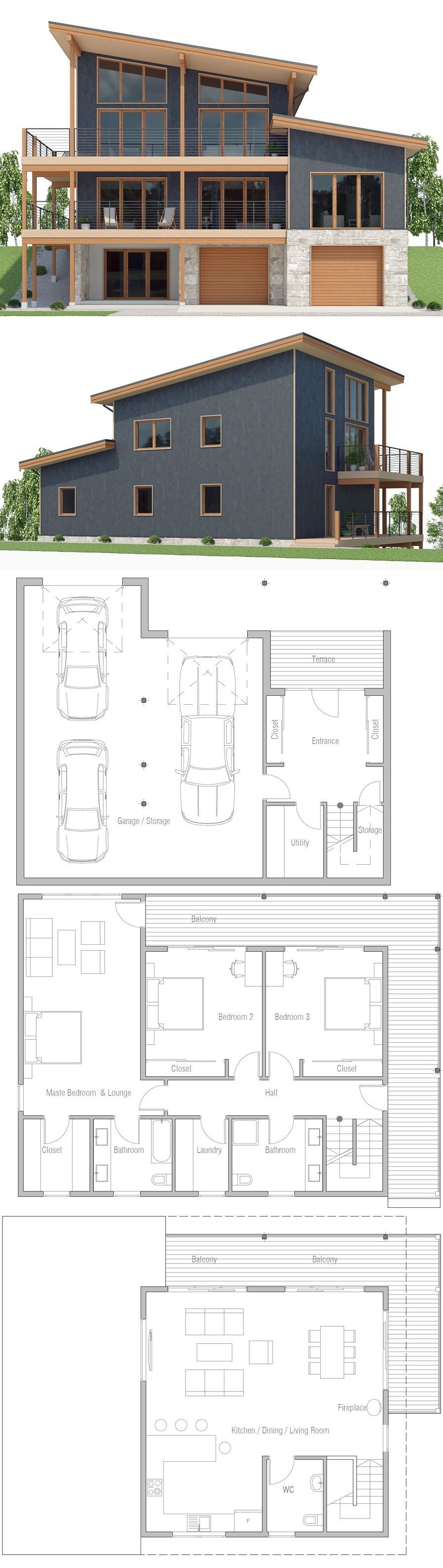 Sloping Lot House Plan Living Pultdachhaus Haus Pl Ne
