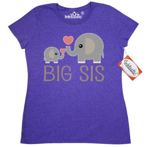 inktastic Lil Sis with Cute Elephant with Flower Toddler T-Shirt
