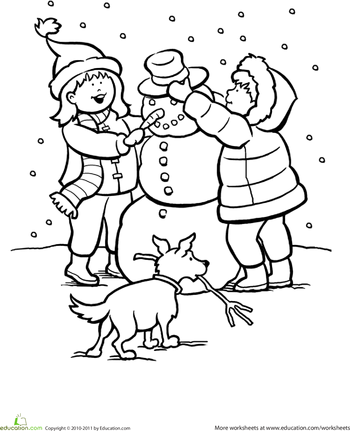 Snowy Day Coloring Page Worksheets Winter theme and Activities