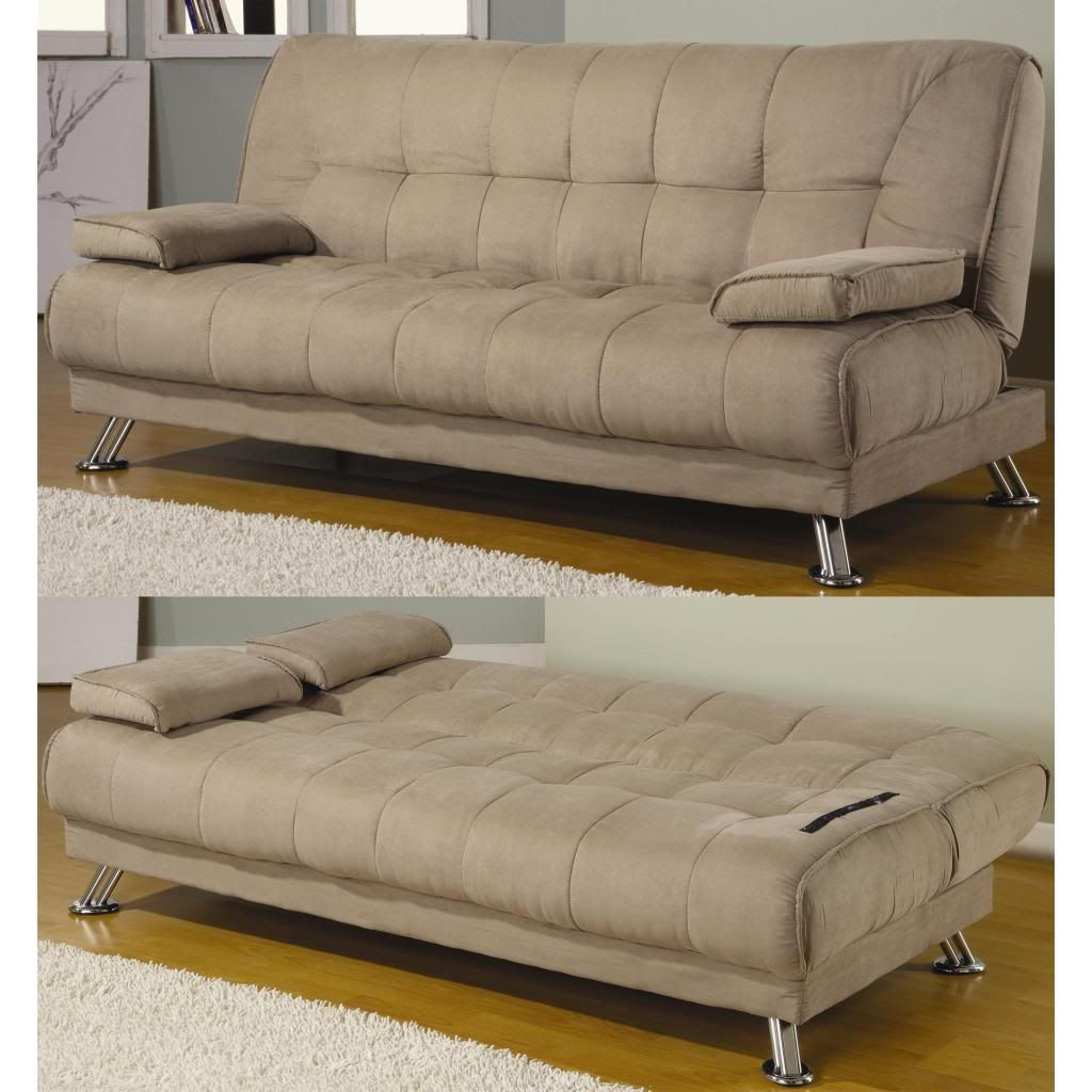 Coaster Tan Microfiber Tufted Convertible Futon Sofa Bed Sleeper With  Removable Pillow Armrests Metal Legs