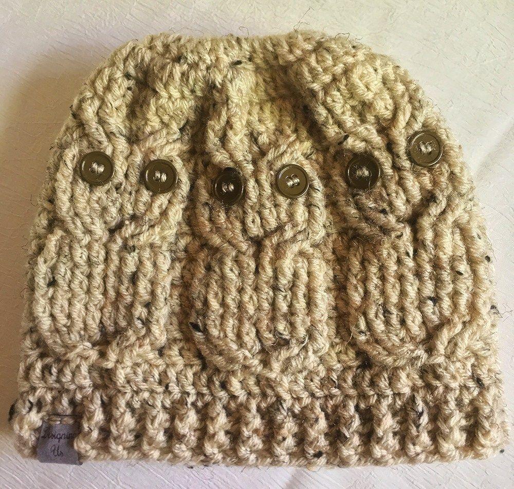Crochet Owl Messy Bun Beanie