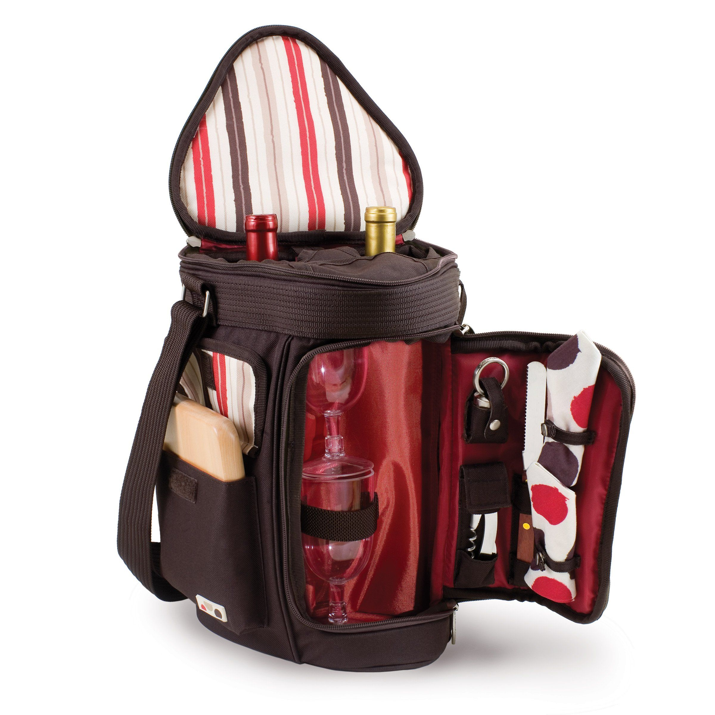 Picnic Time Meritage Insulated Triangular Wine And Cheese Cooler Tote Moka Wine Tote Picnic Time Wine Carrier Bag