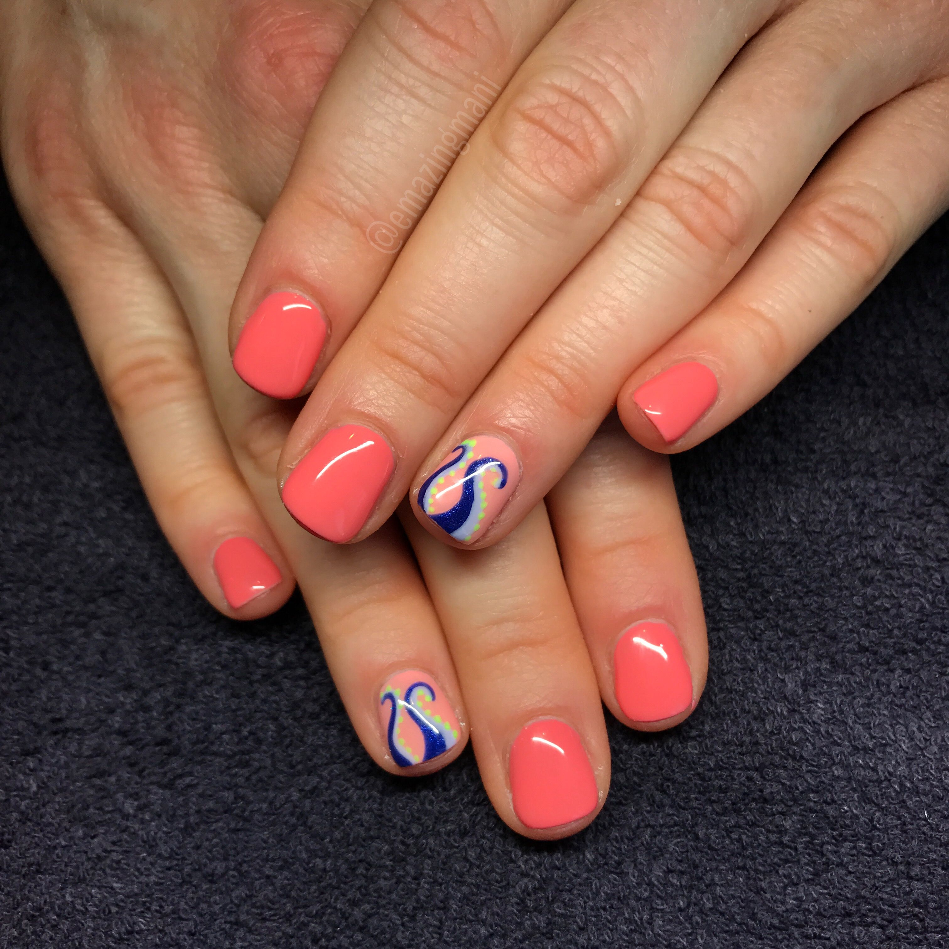 IG @emazingmani Nail art Summer nails Octopus Essie gel peach side ...