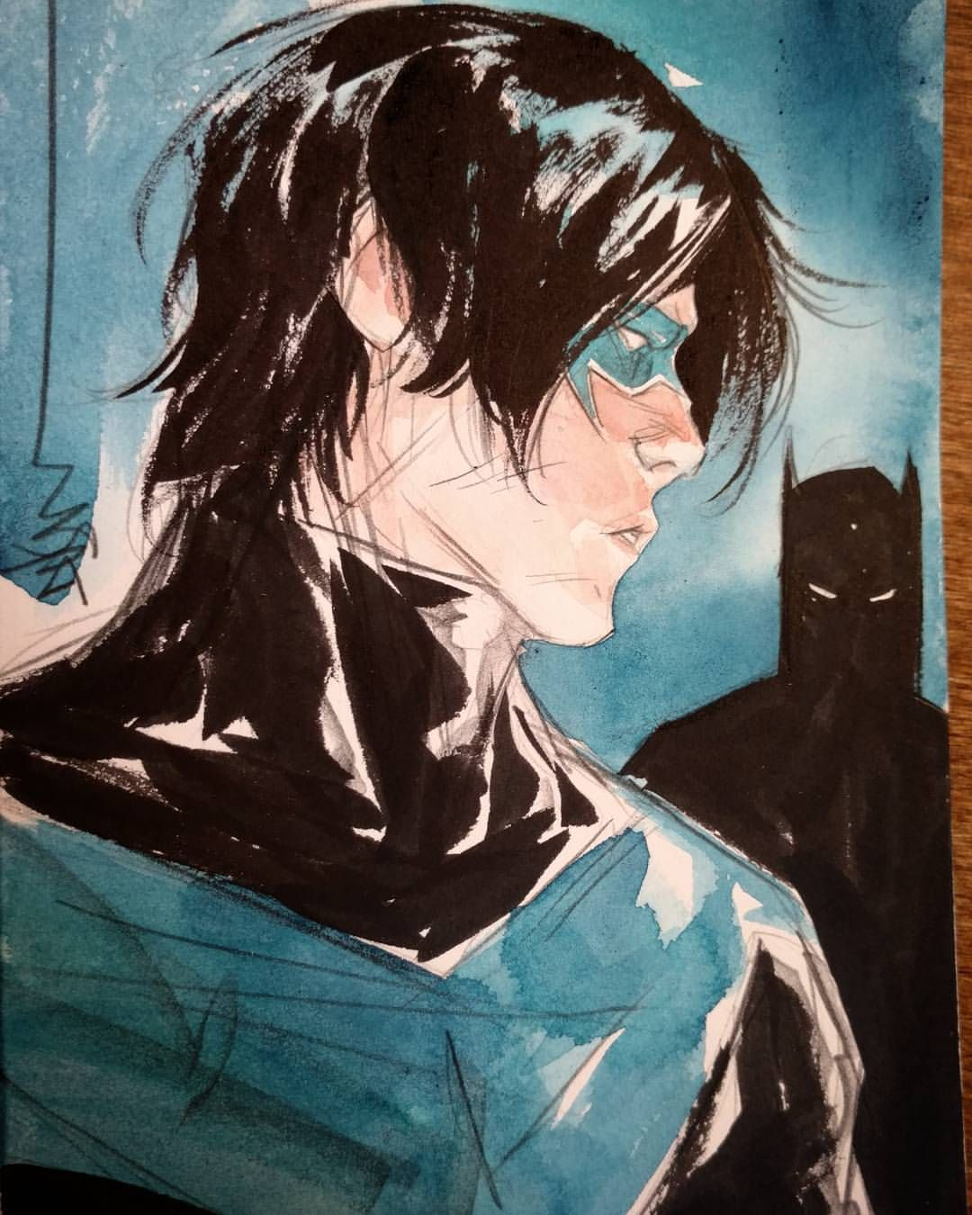Nightwing and Batman by Dustin Nguyen