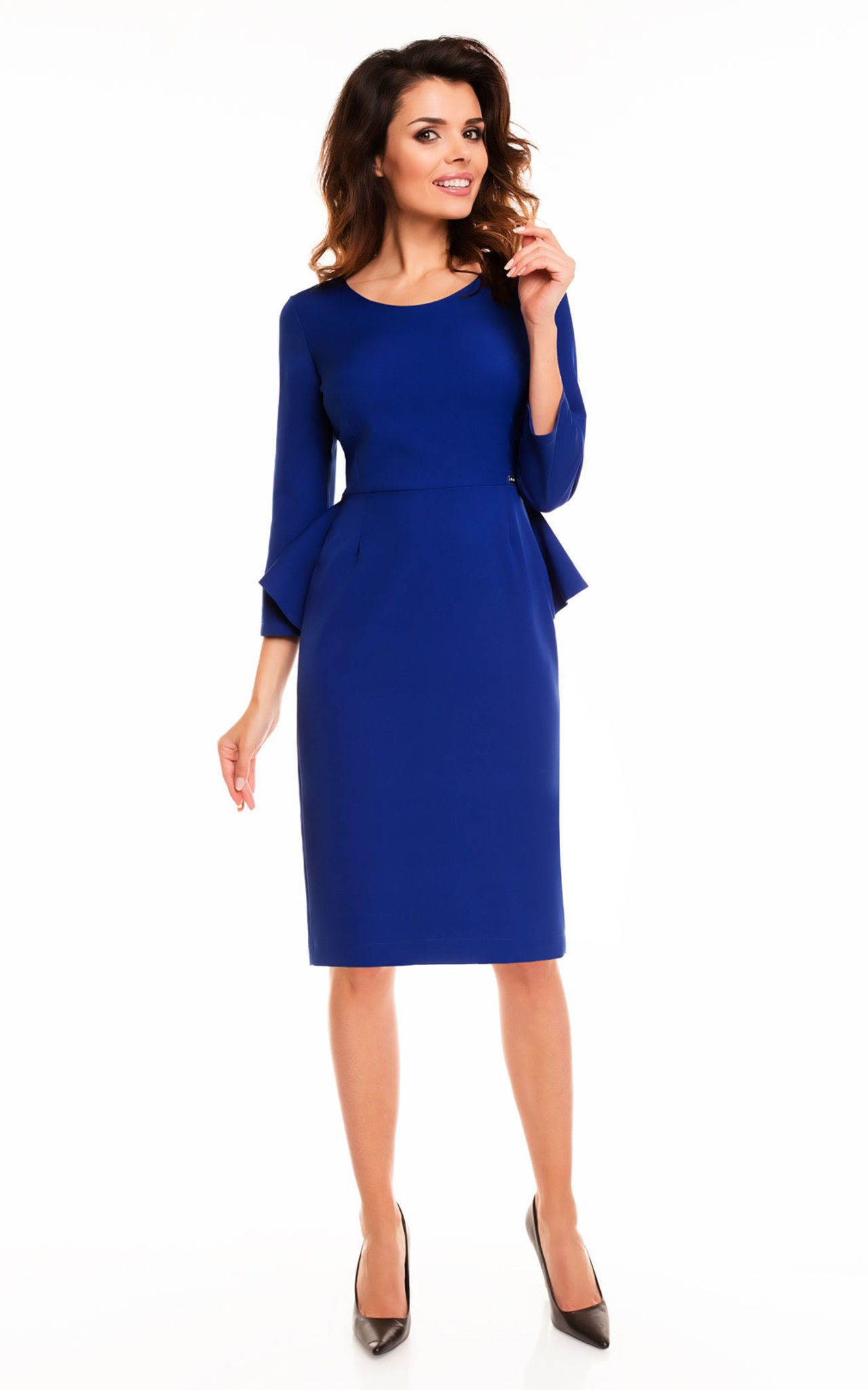 d339c5acfa649 Blue 3 4 Sleeve Back Frill Midi Dress - SilkFred