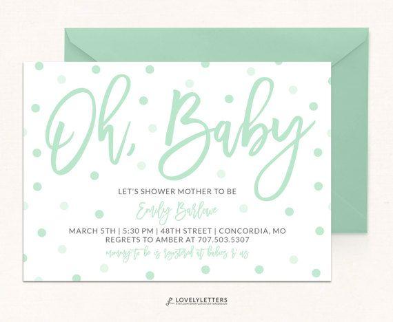 Oh Baby Shower Invitation Confetti Mint Digital Simple Ba