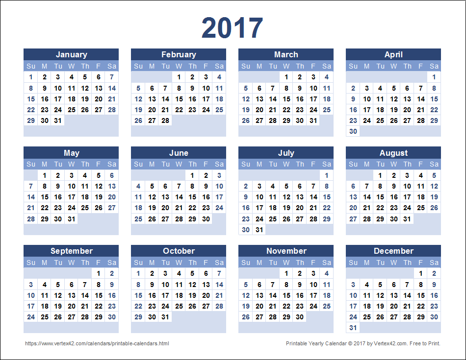 Download a free Printable 2017 Yearly Calendar from Vertex42.com ...