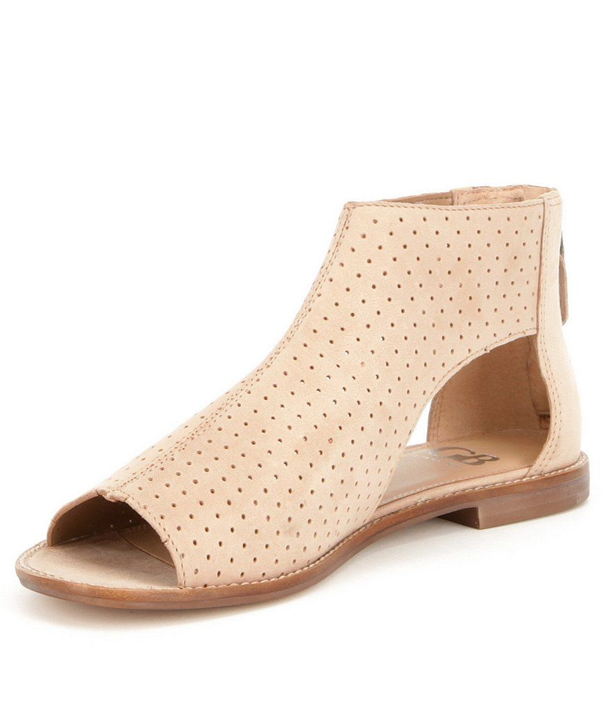 Field-Day Back Zip Perforated Block Heel Flat Sandals