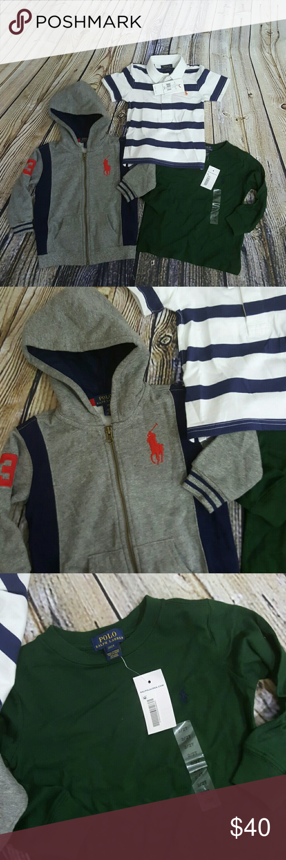 Ralph Lauren Bundle 2t 24 months Ralph Lauren bundle Hoodie size 24 months washed and Worn one time Green long sleeve tee size 2t new with a tags The stripes polo shirt is also brand new size 24 months Ralph Lauren Shirts & Tops Tees - Long Sleeve