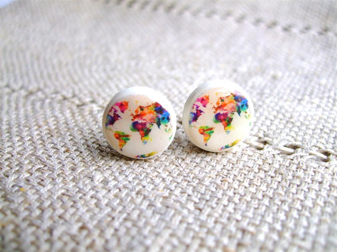 World Map Earring Studs Of The Whole Wide
