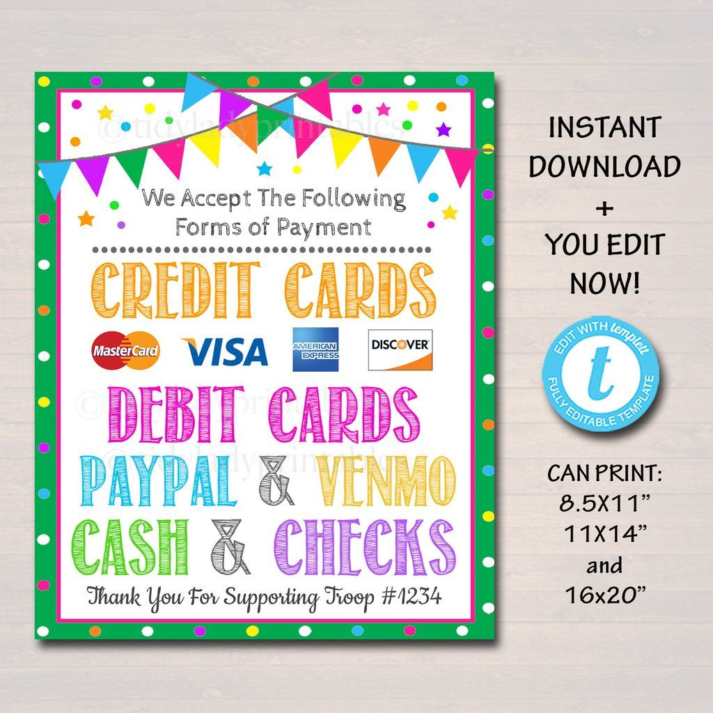 Credit card sign fundraising booth bake sale cookie