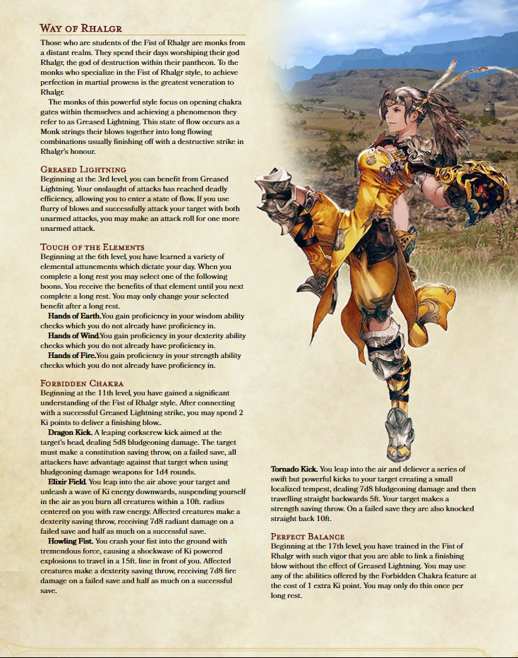 Monk Archetype Way of Rhalgr (FFXIV Monk) 5e Homebrew