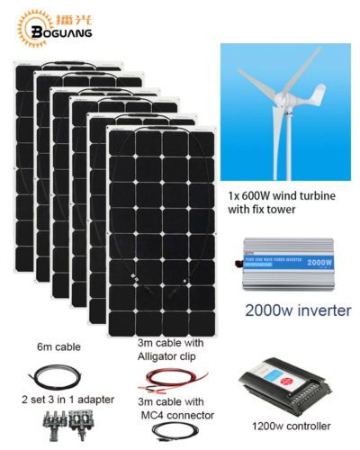 600w Wind Turbine 6x 100w Solar Hybrid System Diy Kit Solar Panel Home Module Diy Kits Solar Panels Wind Turbine