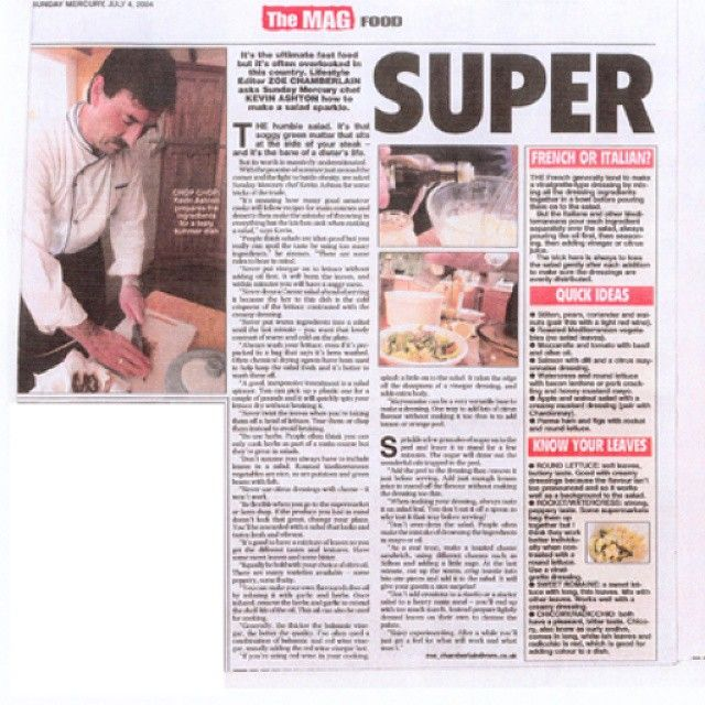 One of my Sunday Mercury Articles about how to make a better salad. #newspaper #article #chef #kevin #ashton #sundaymercury #salad