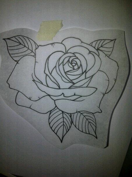 Rose outline for a customer tomorrow skin art for Rose outline tattoo
