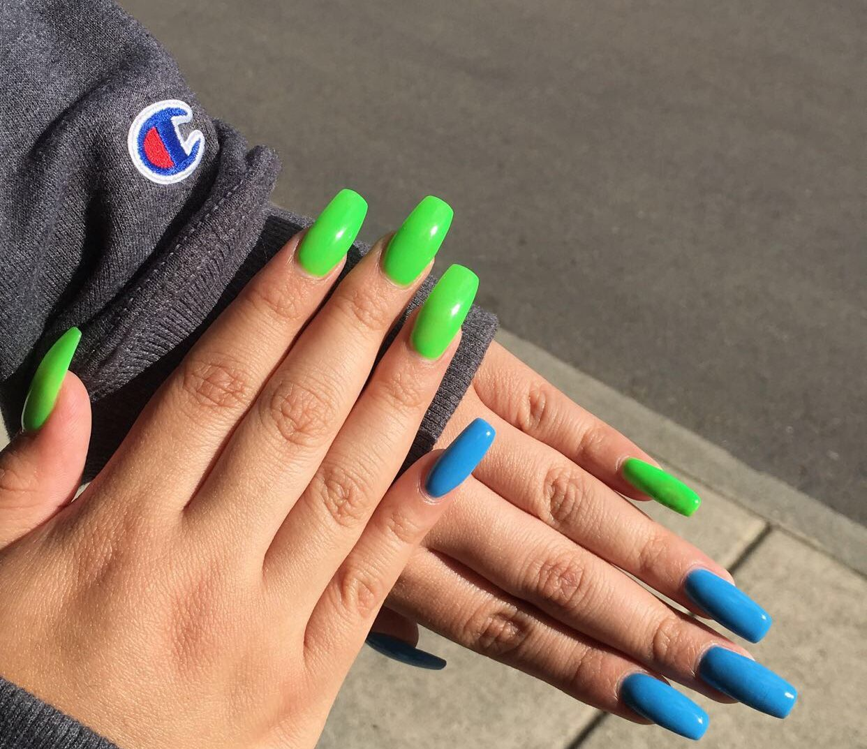 Neon Green And Blue Nails Green Nail Designs Cute Acrylic Nails