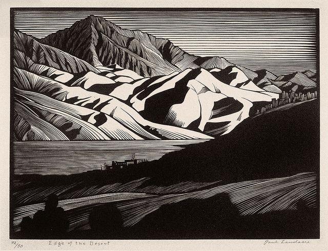 "Read more: http://exm.nr/10msAKB  ""Edge of the Desert"" - Paul Landacre - Wood Engraving - 1931 by Thomas Shahan 3, via Flickr  #desert #landscape #woodcut #engraving #wood #art #print #printmaking"