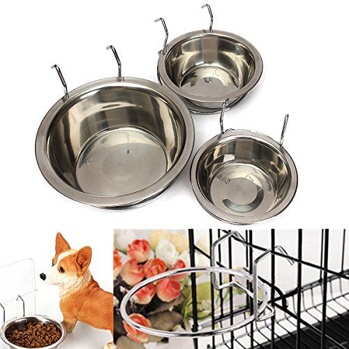 Yosoo Spill Proof Stainless Steel Coop Cup Hanging Pet Kennel Cup