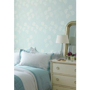 Laura ashley agapanthus pale duck egg wallpaper from for Homebase bedroom inspiration