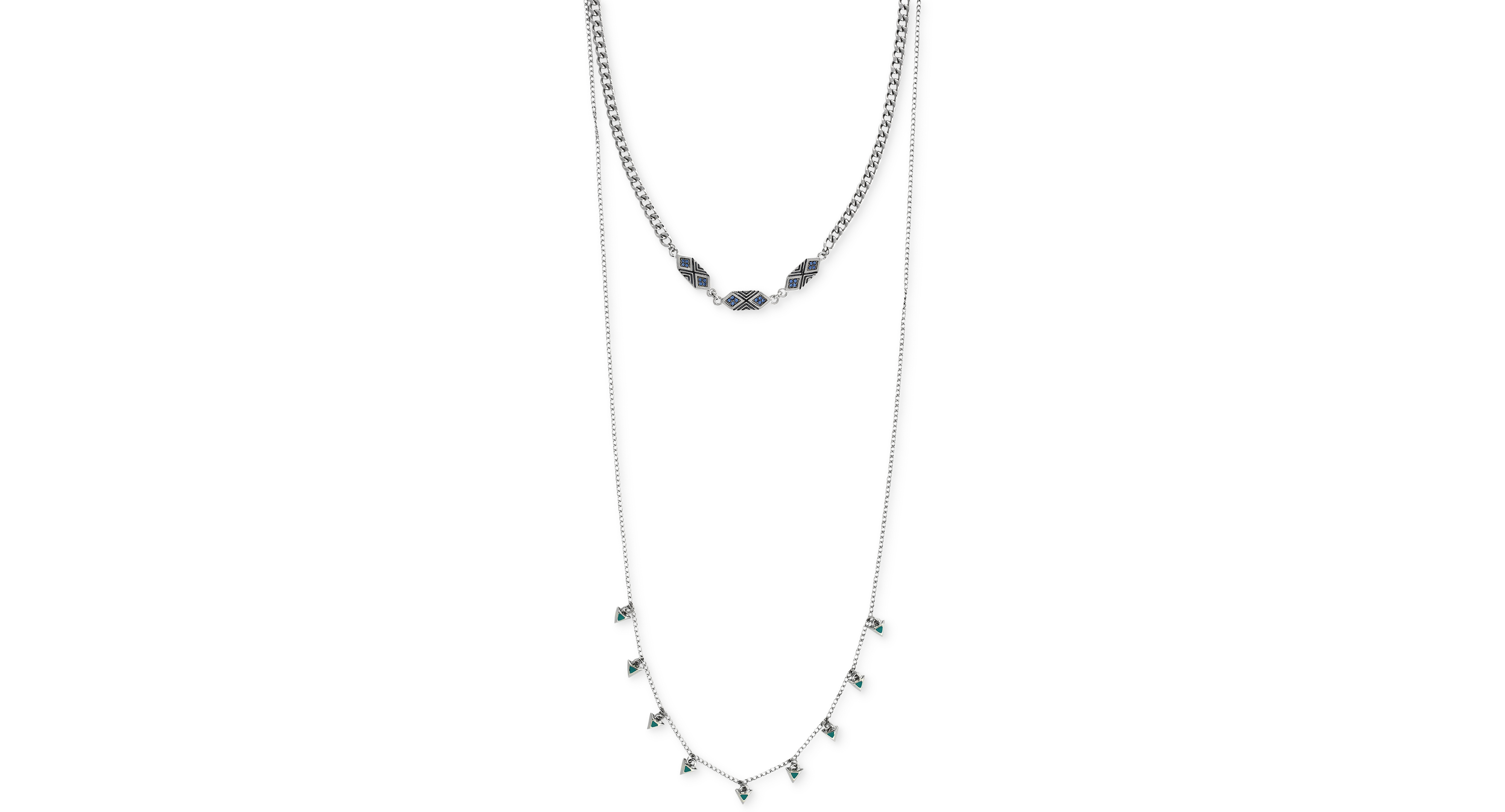 BCBGeneration Silver-Tone Geometric Accent High-Low Necklace