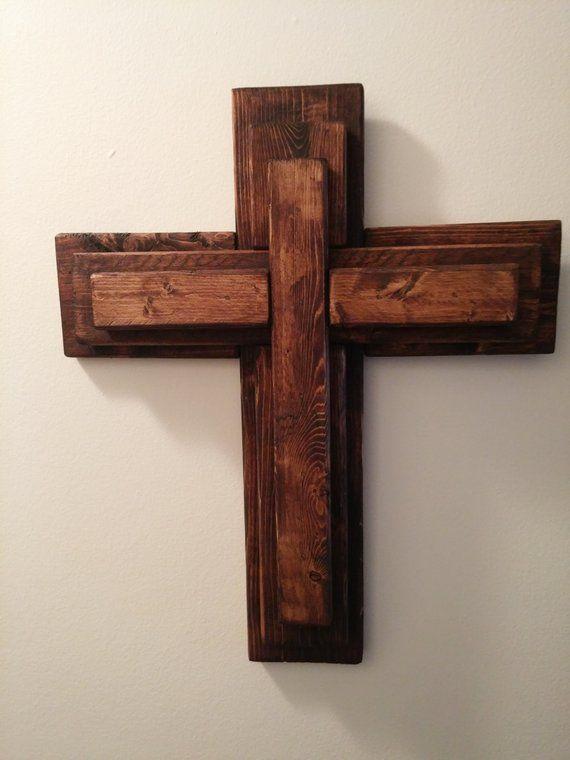 Unique 3 Tier Wooden Cross Rustic Wood