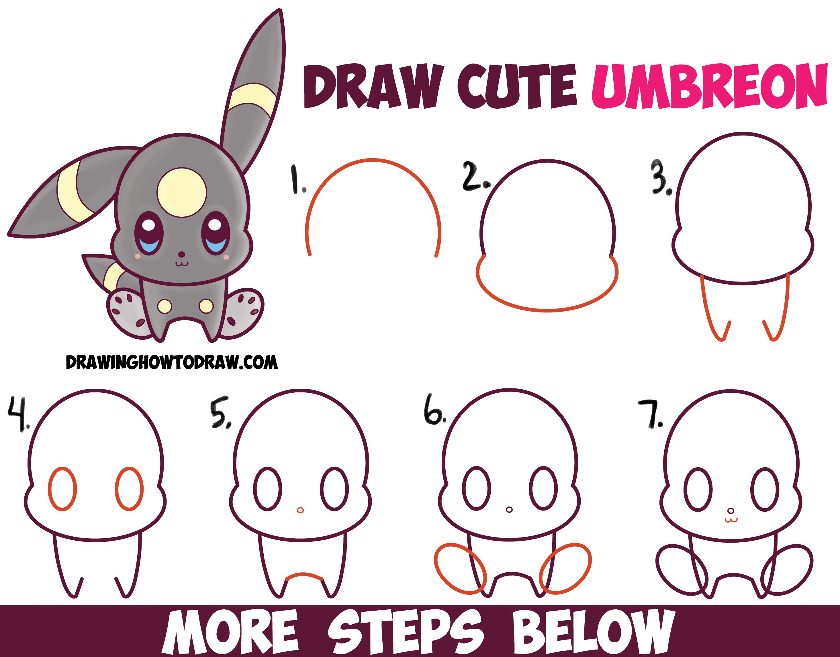 How To Draw Cute Kawaii Chibi Umbreon From Pokemon Easy Step By Drawing Tutorial For Kids