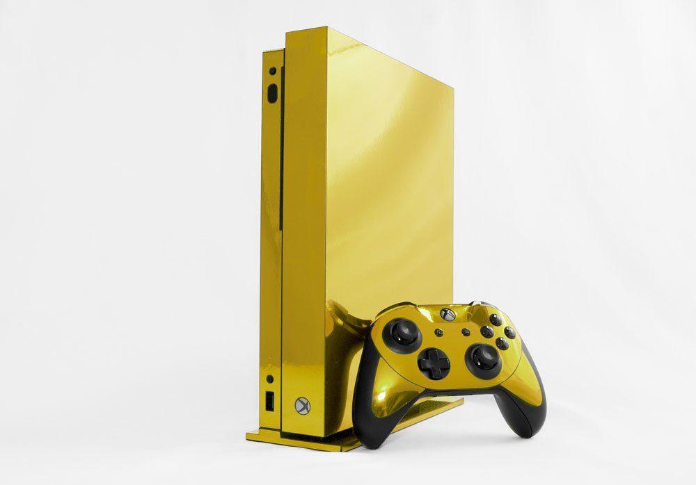 Microsoft Xbox One X Skin Xb1x New Gold Chrome Mirror System Skins