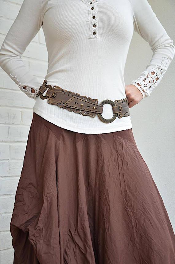 8e1f3a8e355d Beautiful boho style lace like vintage looking brown leather belt ...