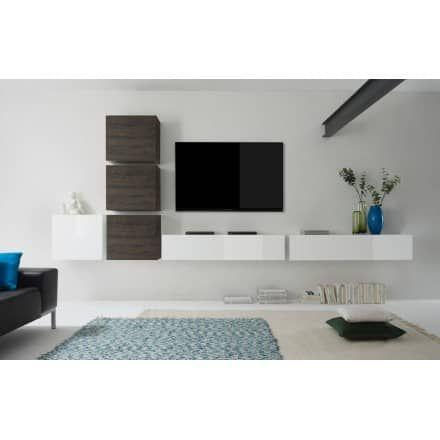 Wohnwand Schrankwand Weiß Hochglanz Lack / Eiche Wenghe Italien Cubilo7    Möbel Galerie   Exclusive Designs