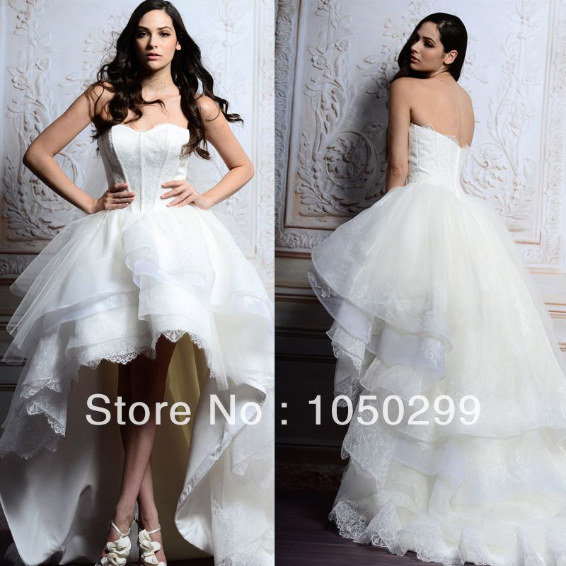 2014 Sweetheart Neckline Low Back Puffy Tiered Lace Organza Designer ...