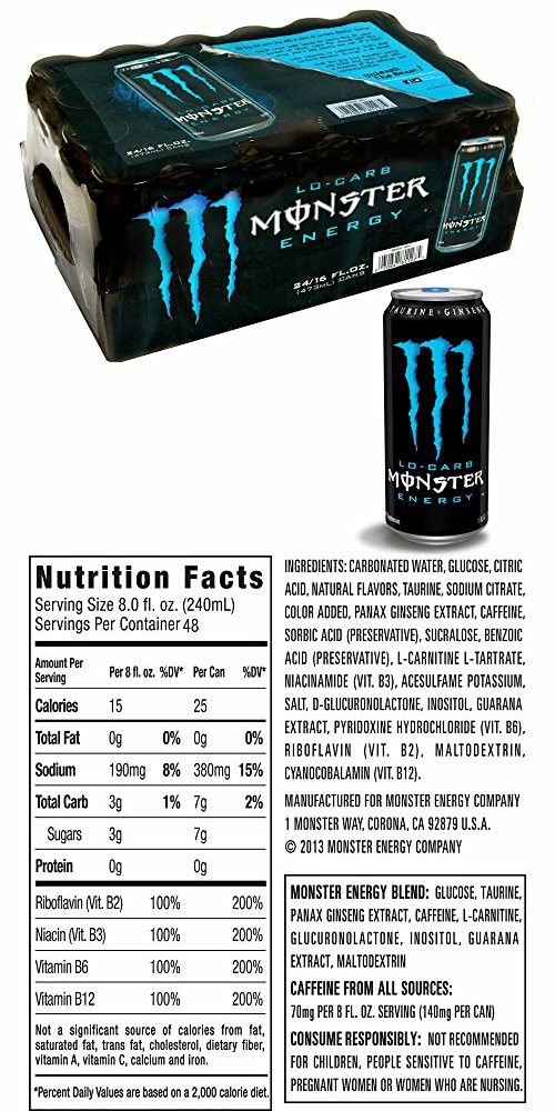 Monster Low Carb Energy Drink 24 Ct 16 Oz Monster Low Carb Energy Drinks Monster Energy Drink