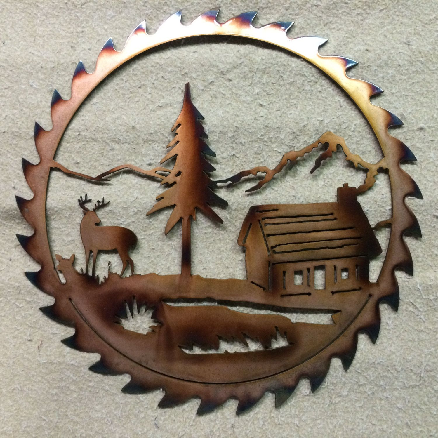 saw blade with elk and cabin by cametalart on etsy plasma