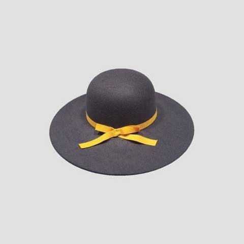 0567d4b61128b Toddler Girls  Faux Felt Floppy Hat with Poms Navy 2T-5T  Brim inches Length