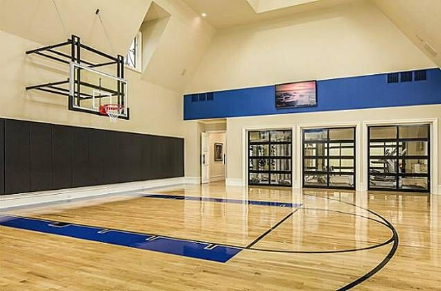 16 Homes With Basketball Courts You Can Buy Now Home Basketball Court Home Gym Design Indoor Basketball Court
