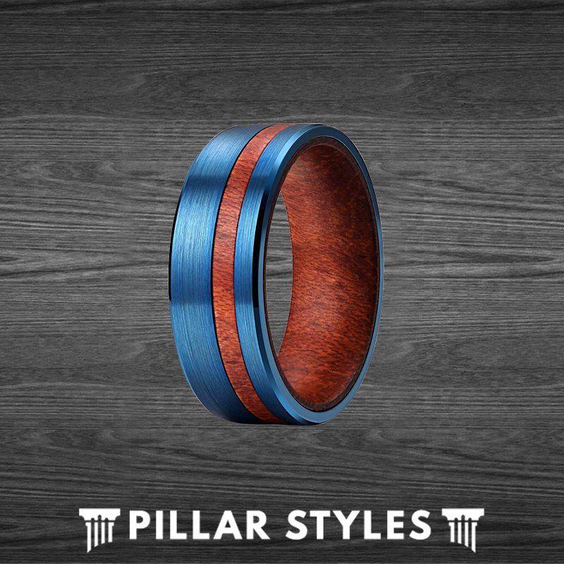 7mm Curly Koa Wood Ring Mens Wedding Band Wood Inlay Ring Blue